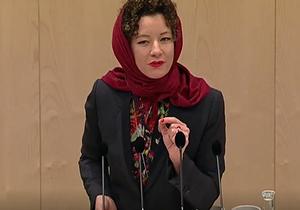 وقتی نماینده پارلمان اتریش با سرکردن روسری قانون منع حجاب را به چالش میکشاند + فیلم