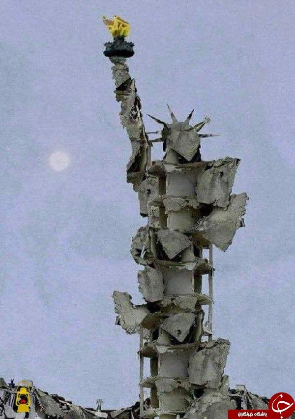 خلاقیت هنرمند سوری در ترسیم جنایات آمریکا +عکس /// نمایه ندارد