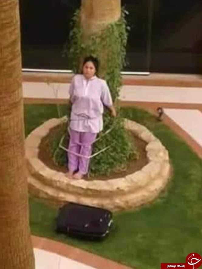 تنبیه عجیب خدمتکار خانگی توسط زوج ثروتمند عربستانی! + تصاویر//