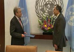 تقدیم استوارنامه تخت روانچی به دبیرکل سازمان ملل + فیلم