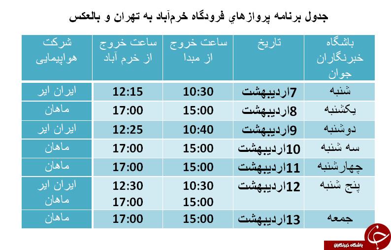 برنامه پروازهای فرودگاه خرمآباد از ۷ تا ۱۳ اردیبهشت ماه