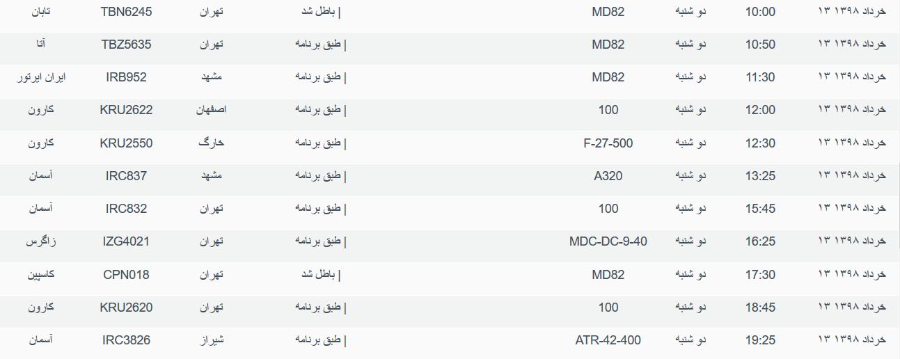 نگاهی به پروازهای دوشنبه ۱۳ خرداد ۹۸ فرودگاههای بین المللی اهواز