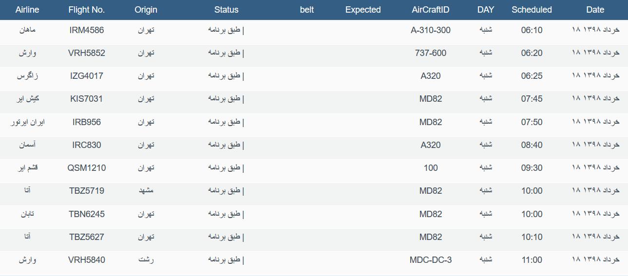 نگاهی به پروازهای شنبه ۱۸ خرداد ۹۸ فرودگاههای بین المللی اهواز