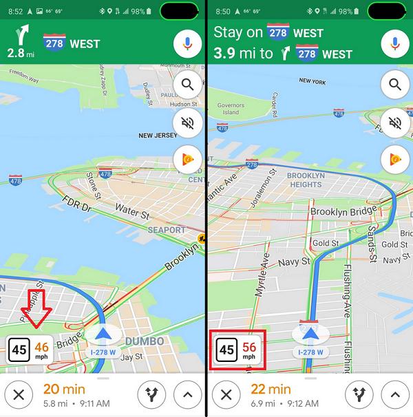 ویژگیهای جدید گوگل مپ/ نمایش سرعت در سرویس نقشه گوگل