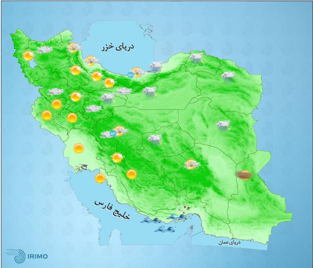 رگبار و رعد و برق در شمال کشور/احتمال و گرد و خاک محلی در جنوب غرب کشور و ایلام