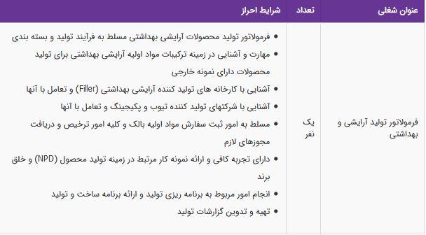 استخدام فرمولاتور تولید آرایشی و بهداشتی در تهران