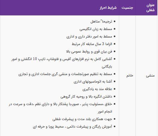 استخدام منشی خانم با حقوق ثابت و بیمه در تهران