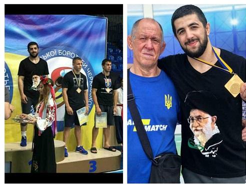 تصویر رهبرانقلاب روی پیراهن قهرمان اوکراینی /قرار گرفتن بر روی سکوی قهرمانی با پیراهن منقش به تصویر مقام معظم رهبری در اوکراین +عکس