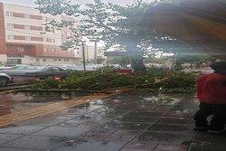 بارش باران همراه با تندباد در ارومیه/معابر دچار آبگرفتگی شد
