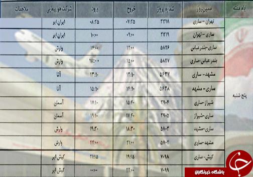 پروازهای پنج شنبه ۲۳ خرداد ماه فرودگاههای مازندران