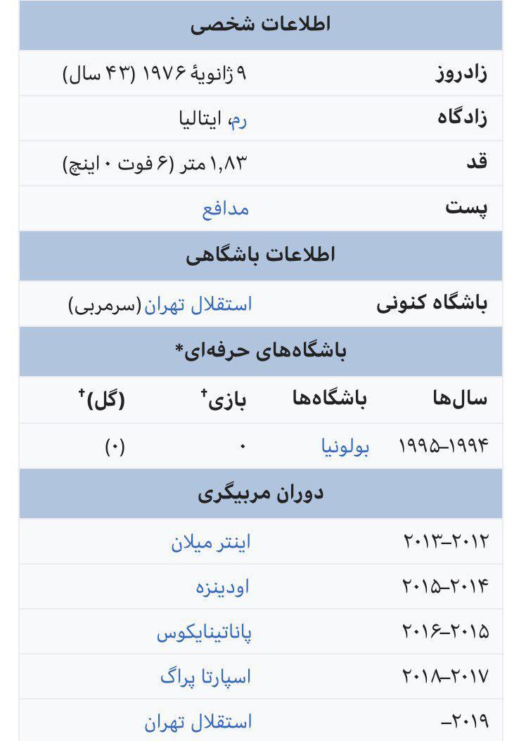 بیوگرافی استراماچونی، سرمربی جدید استقلال تهران