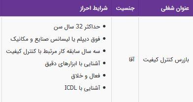 استخدام بازرس کنترل کیفیت آشنایی با ابزارهای دقیق در تهران