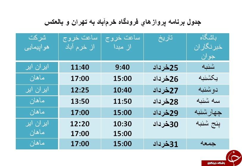 برنامه پروازهای فرودگاه خرمآباد از ۱۸ تا تا ۲۴ خرداد ماه