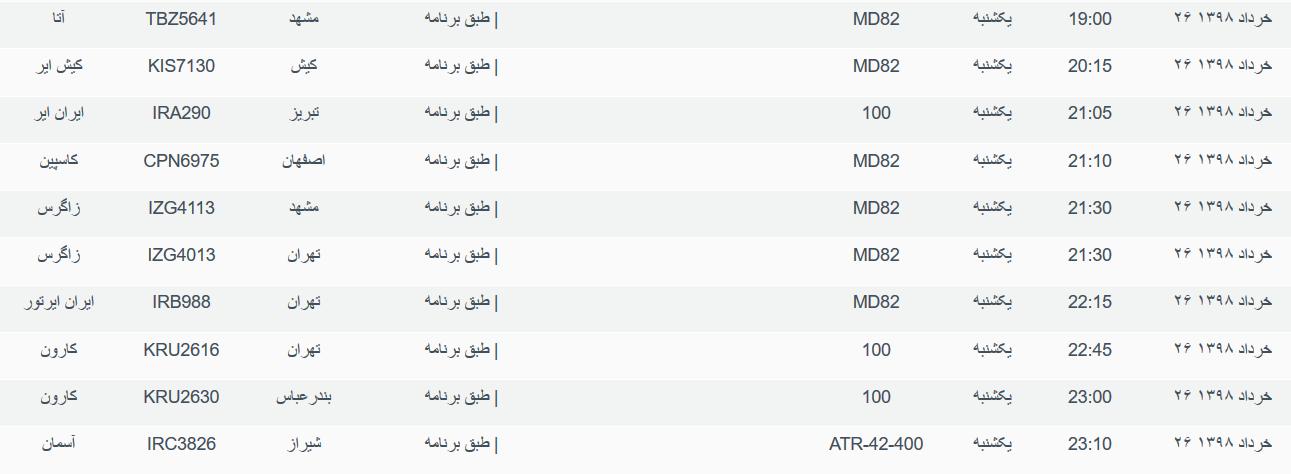 نگاهی به پروازهای یکشنبه ۲۶ خرداد ۹۸ فرودگاههای بین المللی اهواز