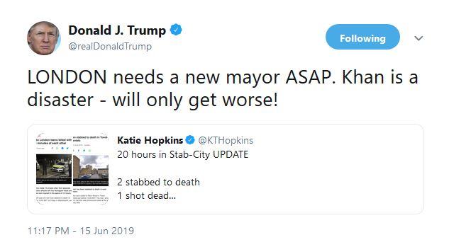 ترامپ: شهردار لندن یک فاجعه و مایهی آبروریزی است