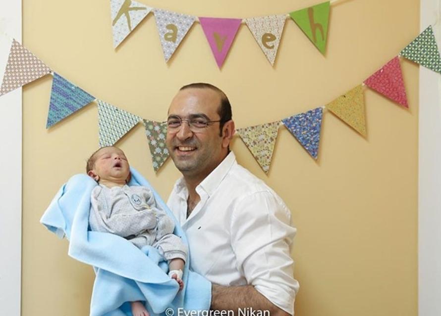 تار نوازی بازیگر سریال رمضانی برای نوزادش+فیلم