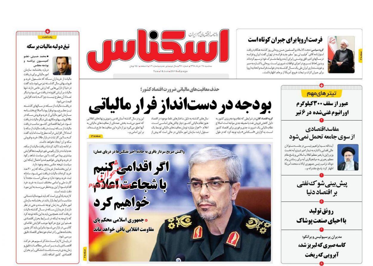 صفحه نخست روزنامههای اقتصادی ۲۸ خرداد