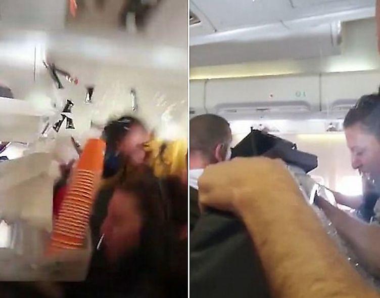 تکان شدید هواپیما باعث سوختگی مسافران شد+فیلم