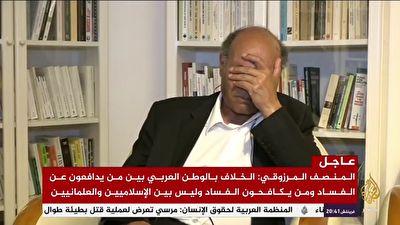 گریه رئیس جمهور سابق تونس در غم فراق محمد مرسی در آنتن زنده + فیلم