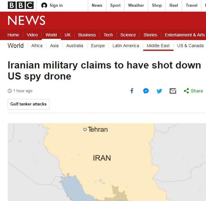 بازتاب سرنگونی پهپاد آمریکایی از سوی ایران در رسانه های جهان+ تصاویر