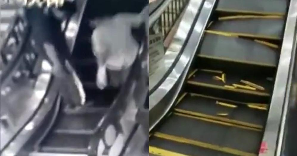 اوراق شدن پله های پله برقی در زیر پای مشتریان! + فیلم//