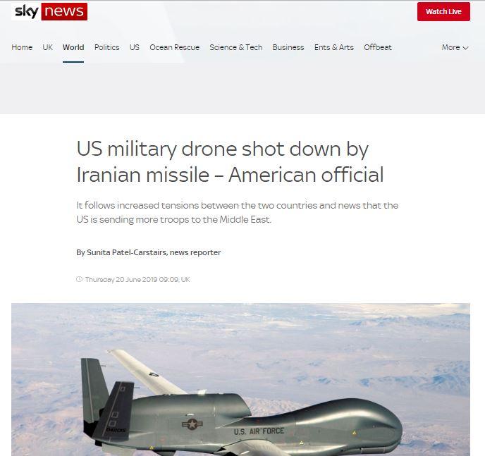 بازتاب سرنگونی پهپاد آمریکایی از سوی ایران در رسانههای جهان + تصاویر