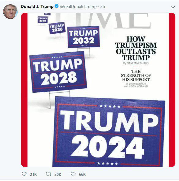 توئیت تبلیغاتی ترامپ: تا ابد رئیسجمهور آمریکا هستم