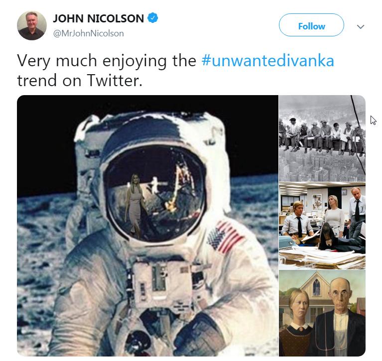 شوخی کاربران توئیتر با «ایوانکای همیشه حاضر»!