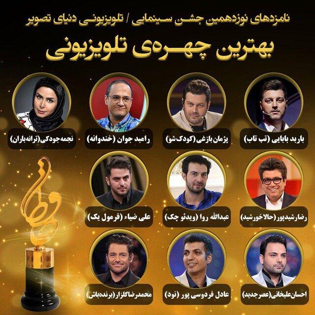 معرفی نامزدهای جایزه بهترین چهره تلویزیونی نوزدهمین جشن حافظ