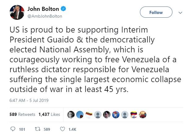 بولتون: به حمایت از رهبر مخالفان ونزوئلا افتخار میکنیم