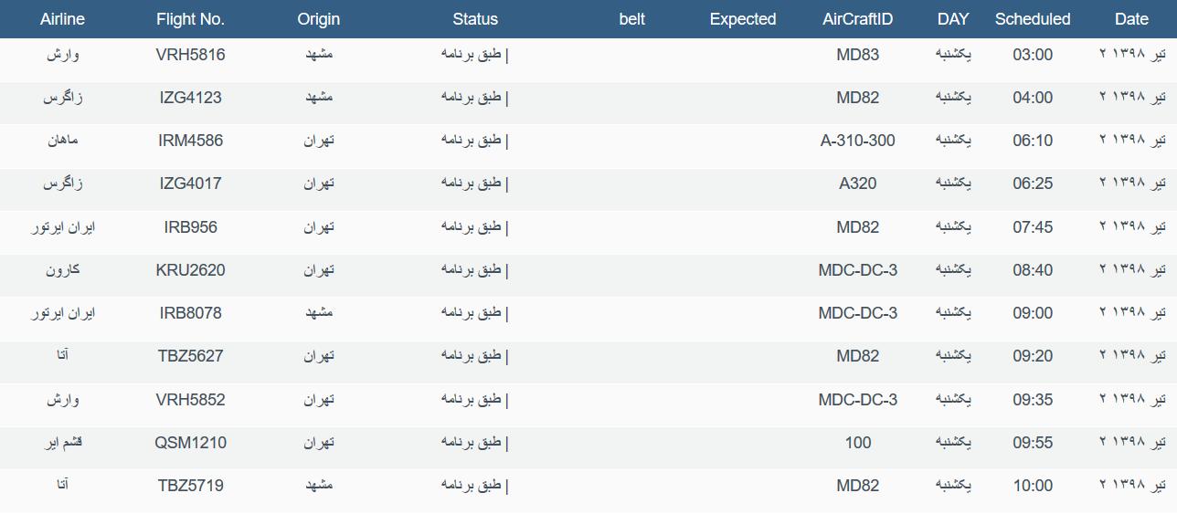 نگاهی به پروازهای یکشنبه ۲ تیرماه ۹۸ فرودگاههای بین المللی اهواز