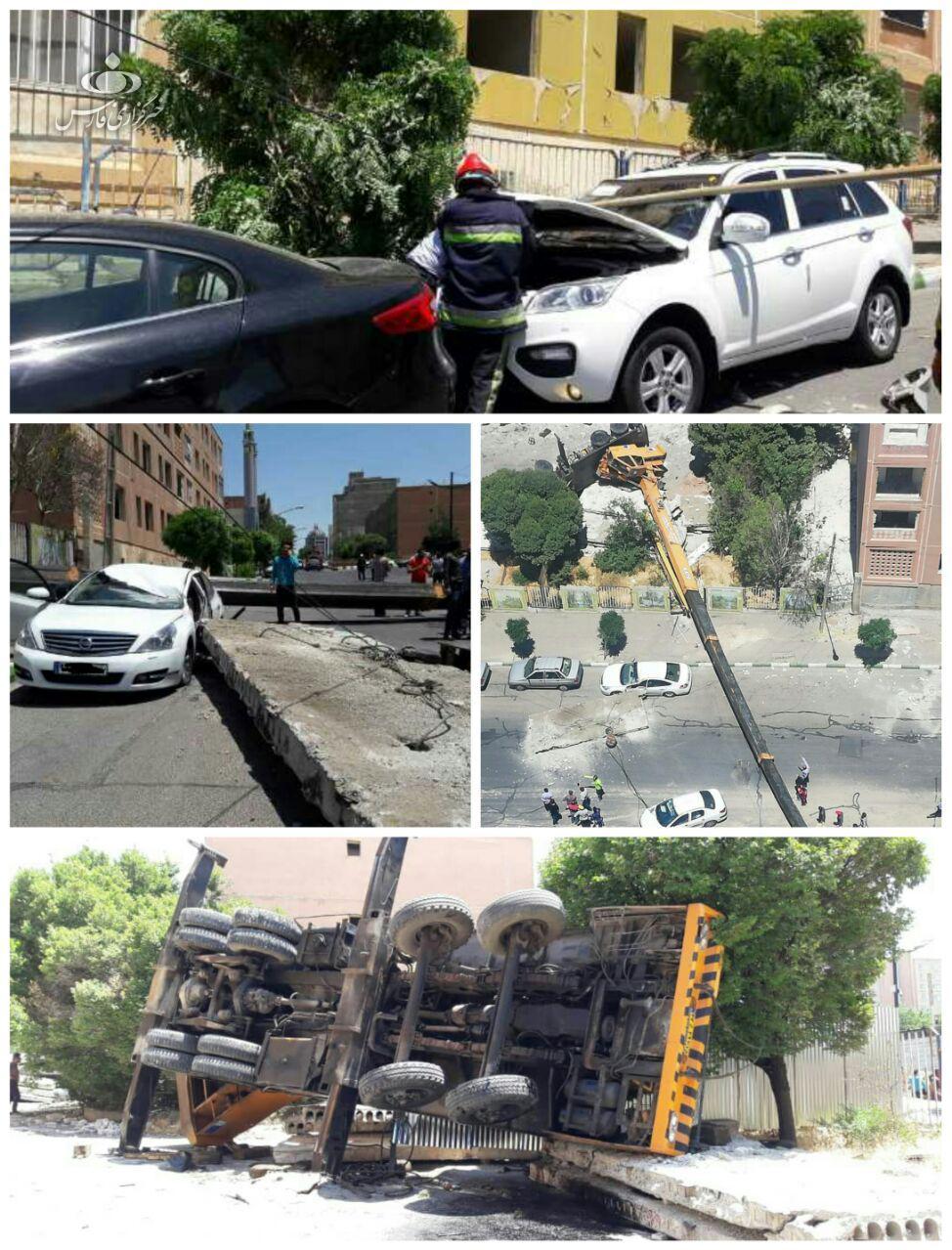 سقوط جرثقیل در تبریز با یک مصدوم و خسارت+ تصاویر