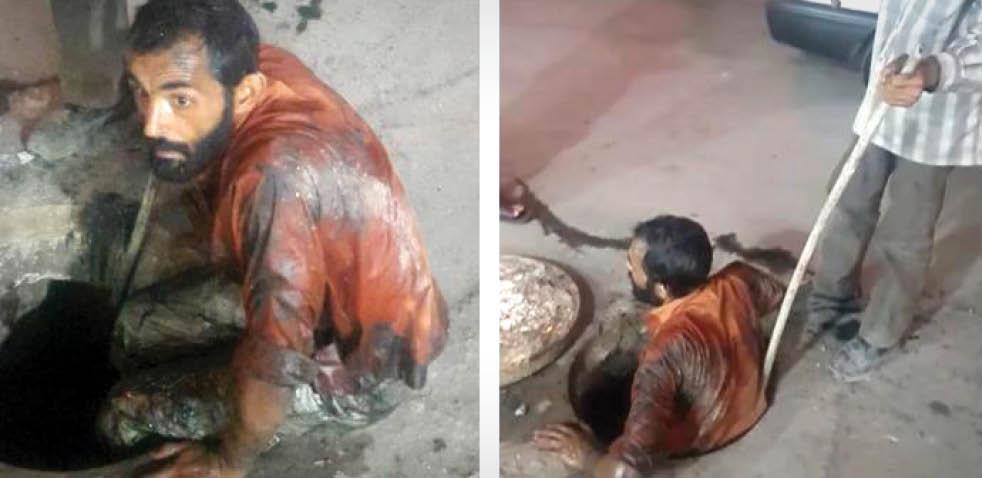 معروفترین مرد این روزهای حمیدیه!/ گفتگو بارفتگری که تصویرش بعد از ورود به چاه فاضلاب مورد توجه قرار گرفت
