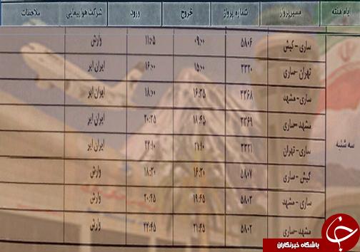 پروازهای سه شنبه ۲۵ تیر ماه فرودگاههای مازندران
