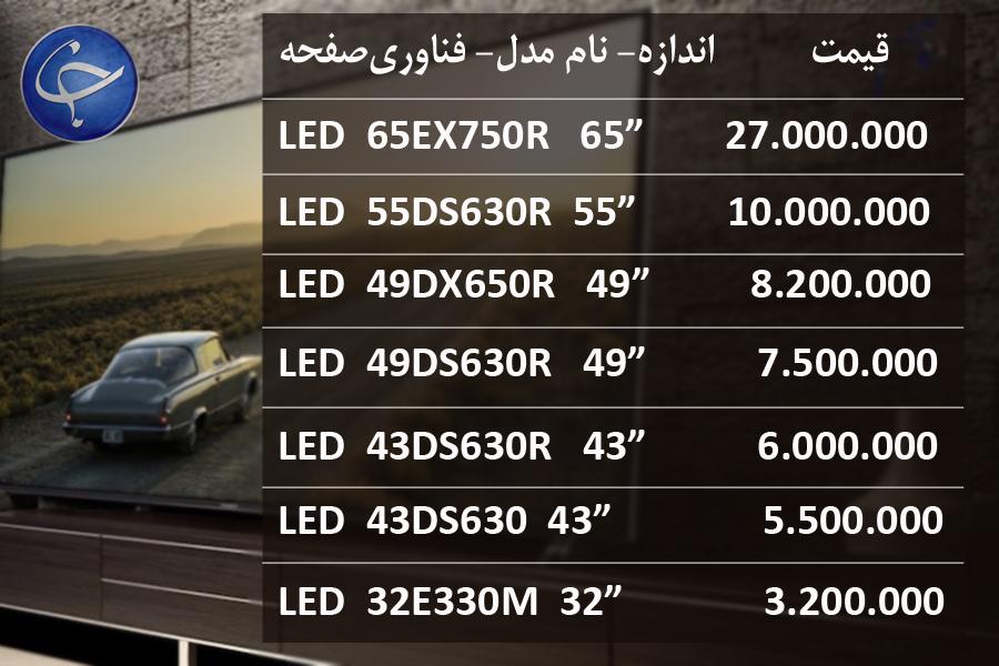 آخرین قیمت انواع تلویزیون در بازار (تاریخ ۲۶ تیر) +جدول