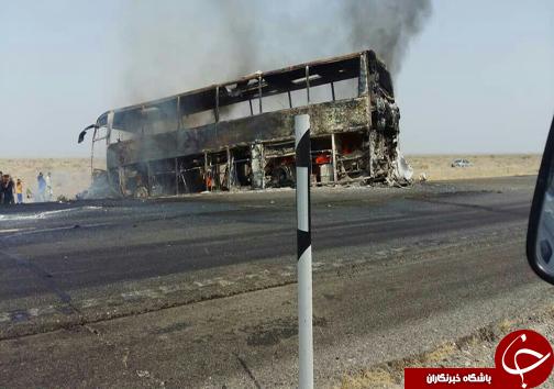حادثه تلخ برای اتوبوس مسافربری در محور ایرانشهر-بم/۷ نفر در دم جان باختند/ اعزام یک بالگرد به منطقه + عکس