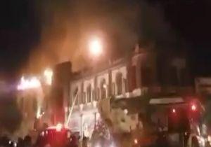 آتشسوزی در میدان حسنآباد در مرکز تهران + فیلم