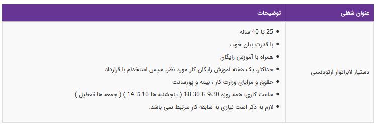 استخدام دستیار لابراتوار ارتودنسی در تهران