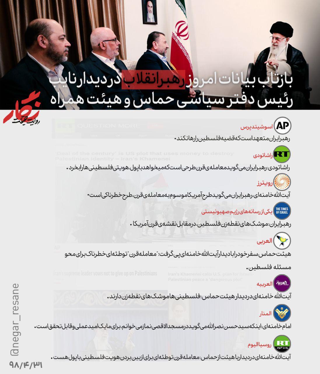بازتاب سخنان امروز رهبر انقلاب در رسانههای بینالمللی +عکسنوشته