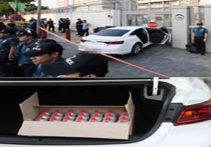 برخورد خودروی حامل کپسول گاز به ورودی سفارت آمریکا در سئول