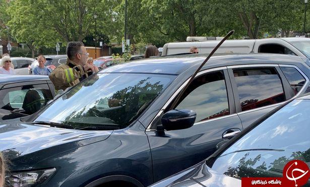 نجات معجزه آسای کودک گرفتار شده در گرمای خودرو! + تصاویر///