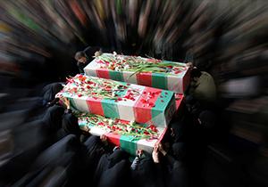 تشییع پیکر ۲ شهید گمنام دوران دفاع مقدس در شیراز