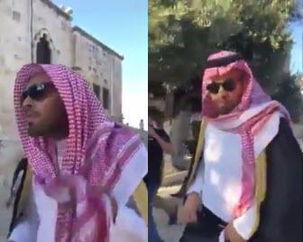 اخراج تحقیرآمیز وبلاگ نویسی سعودی از مسجدالاقصی +فیلم