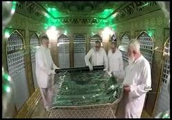 غبارروبی مضجع مطهر حضرت امام رضا(ع) با حضور مراجع عظام تقلید + فیلم