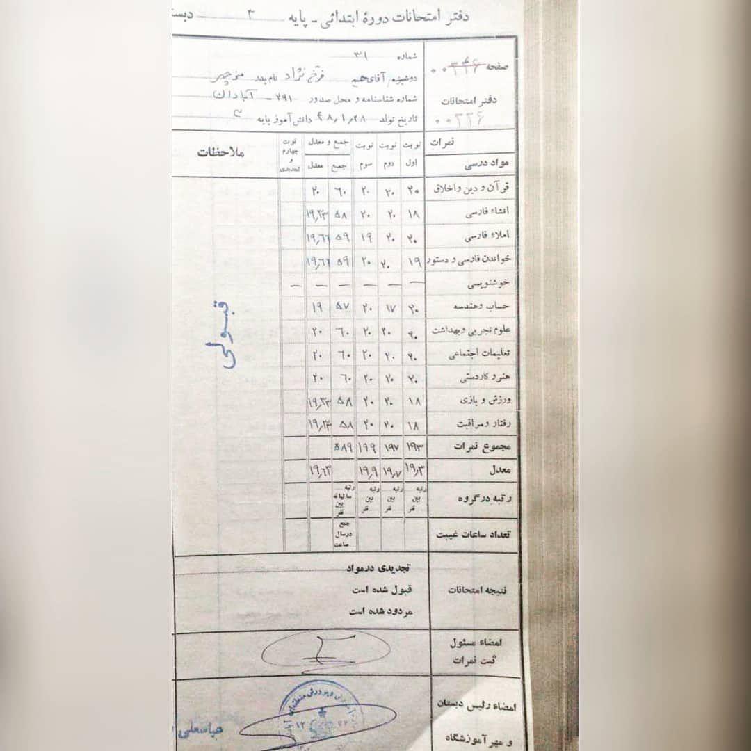 حمید فرخ نژاد با چه معدلی توانست قبولی خرداد را کسب کند؟+ تصویر