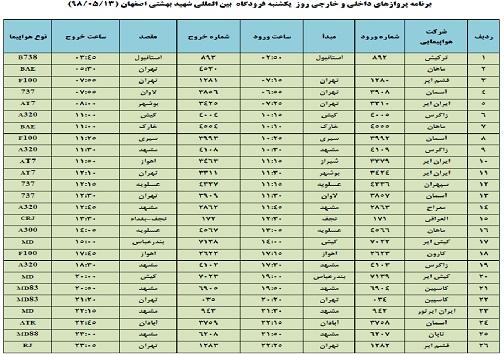 فهرست پروازهای ۱۳ مرداد فرودگاه شهید بهشتی اصفهان