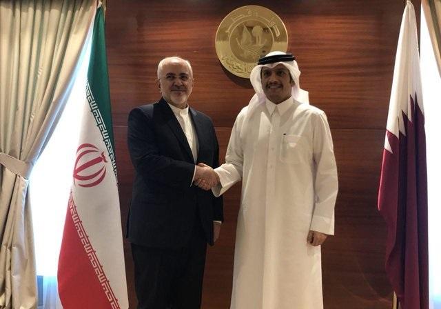 دیدار و گفتوگوی ظریف با وزیر خارجه قطر در دوحه