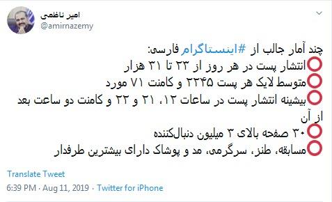 چند آمار جالب از اینستاگرام فارسی +عکس