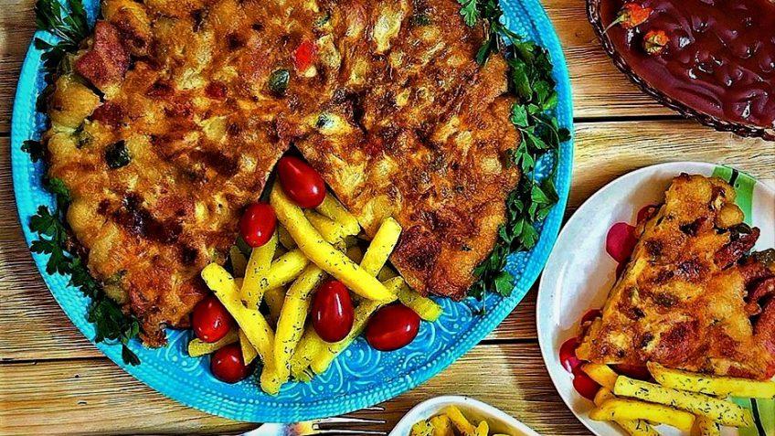 کوکو  خوشمزه با ماکارونی  + دستور تهیه