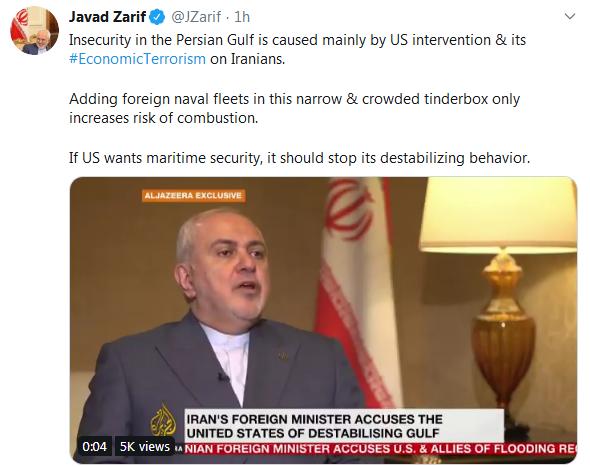 ناامنی در خلیج فارس با مداخله آمریکا ایجاد شده است.